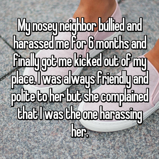 My nosey neighbor bullied and harassed me for 6 months and finally got me kicked out of my place. I was always friendly and polite to her but she complained that I was the one harassing her.
