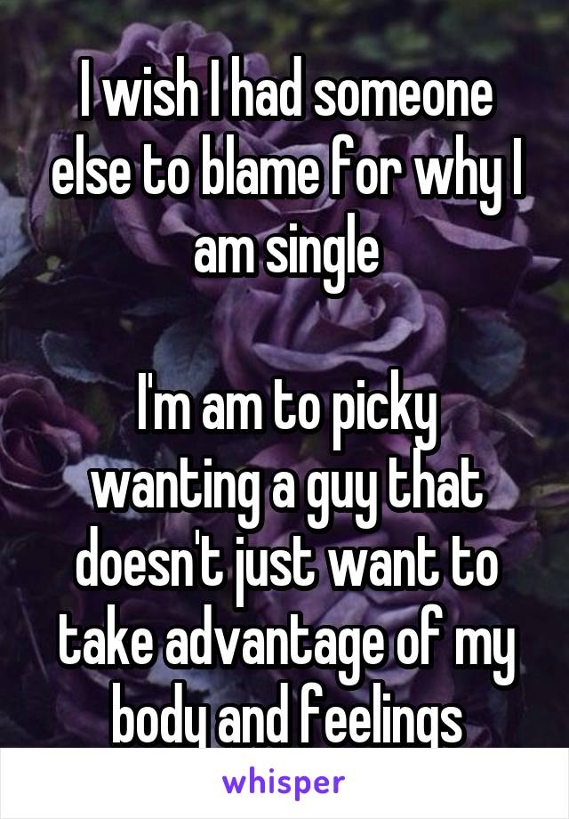 I wish I had someone else to blame for why I am single  I'm am to picky wanting a guy that doesn't just want to take advantage of my body and feelings