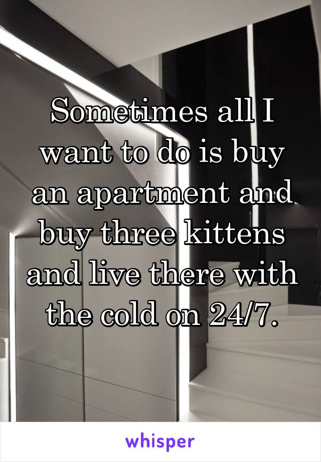 Sometimes all I want to do is buy an apartment and buy three kittens and live there with the cold on 24/7.