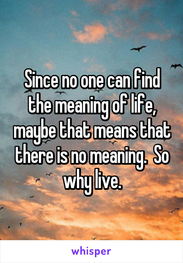 Since no one can find the meaning of life, maybe that means that there is no meaning.  So why live.