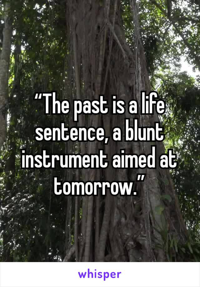 """The past is a life sentence, a blunt instrument aimed at tomorrow."""