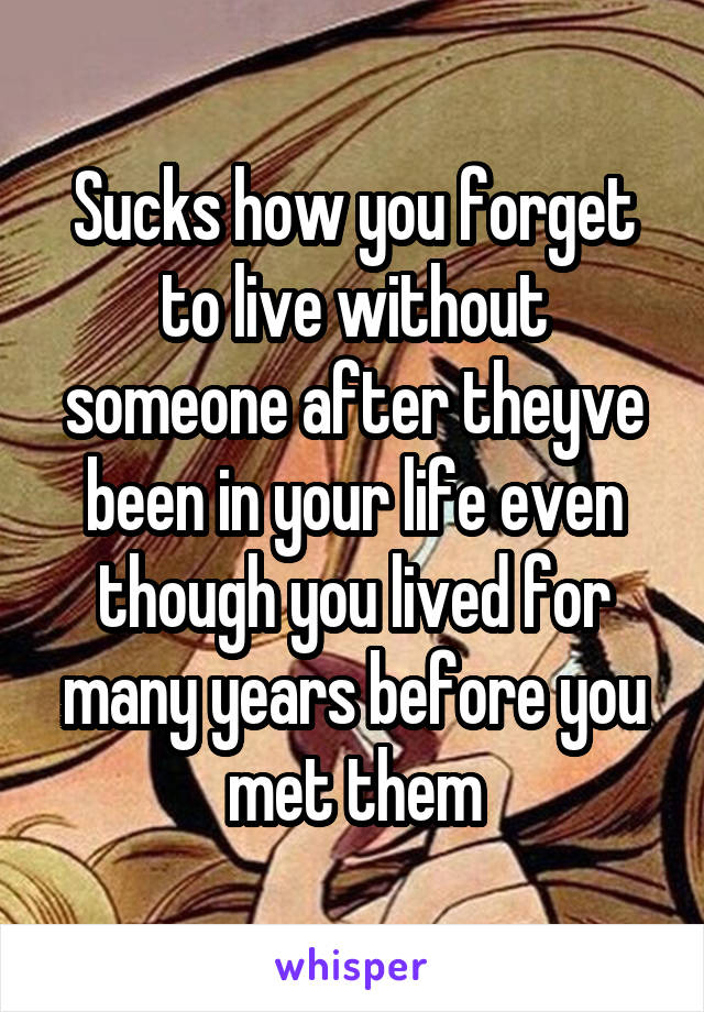 Sucks how you forget to live without someone after theyve been in your life even though you lived for many years before you met them