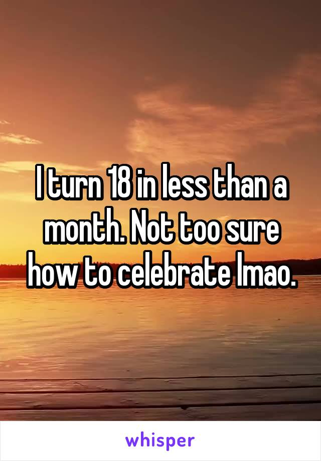 I turn 18 in less than a month. Not too sure how to celebrate lmao.