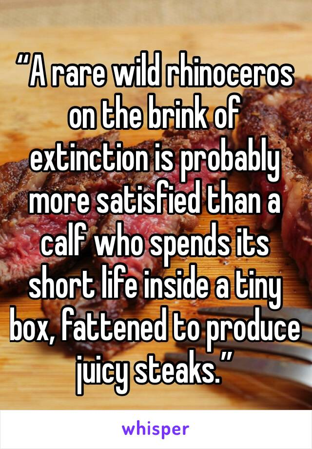 """""""A rare wild rhinoceros on the brink of extinction is probably more satisfied than a calf who spends its short life inside a tiny box, fattened to produce juicy steaks."""""""