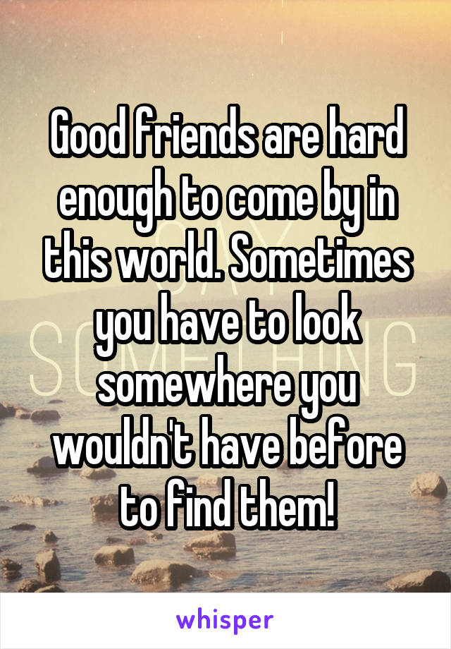 Good friends are hard enough to come by in this world. Sometimes you have to look somewhere you wouldn't have before to find them!