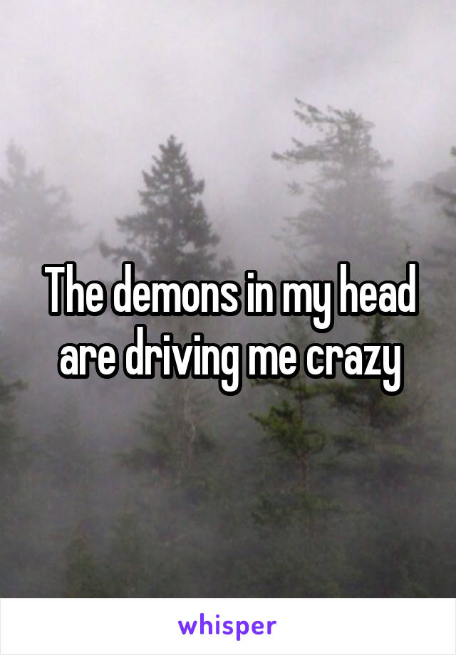 The demons in my head are driving me crazy