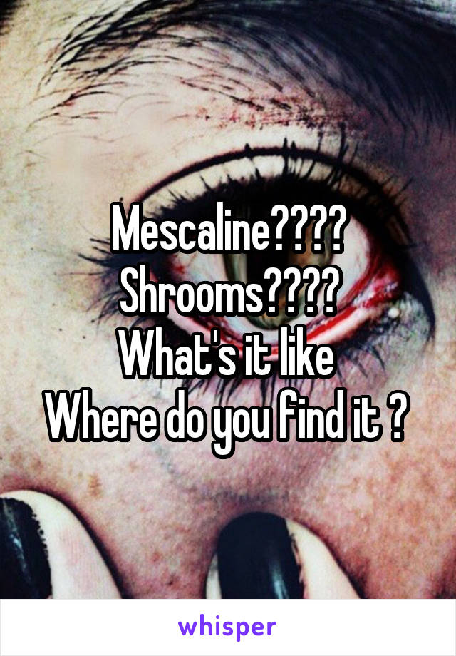 Mescaline???? Shrooms???? What's it like  Where do you find it ?