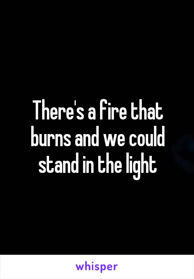 There's a fire that burns and we could stand in the light
