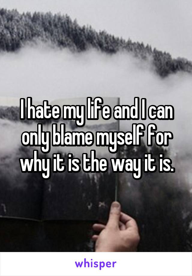 I hate my life and I can only blame myself for why it is the way it is.