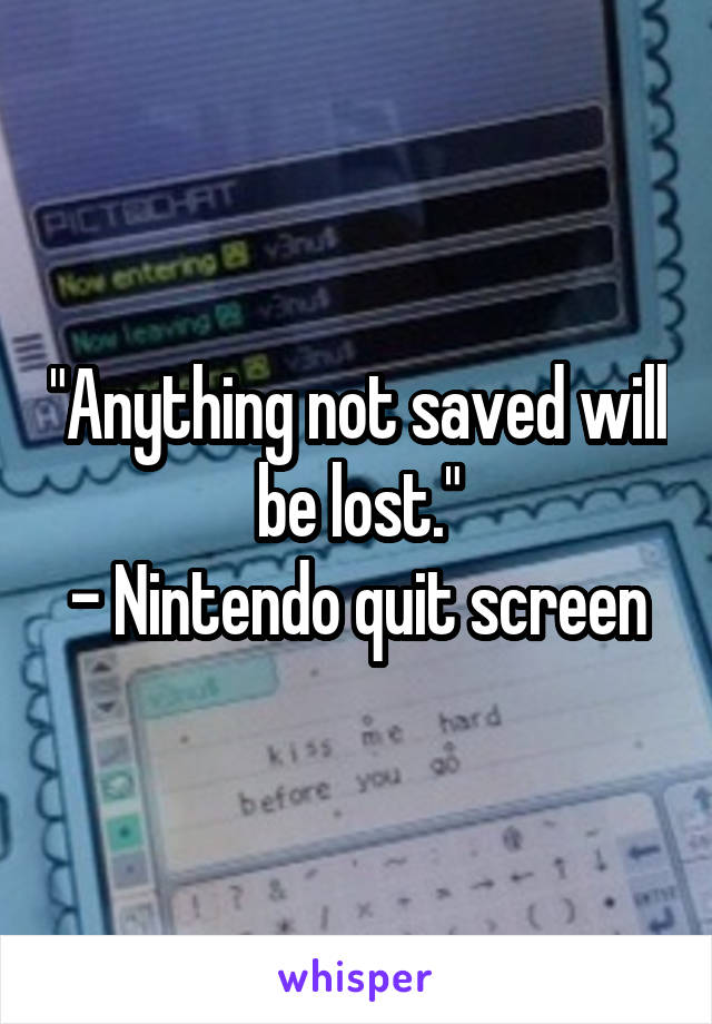 """""""Anything not saved will be lost."""" - Nintendo quit screen"""