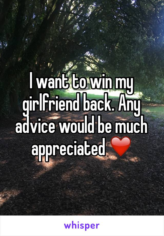 I want to win my girlfriend back. Any advice would be much appreciated ❤️