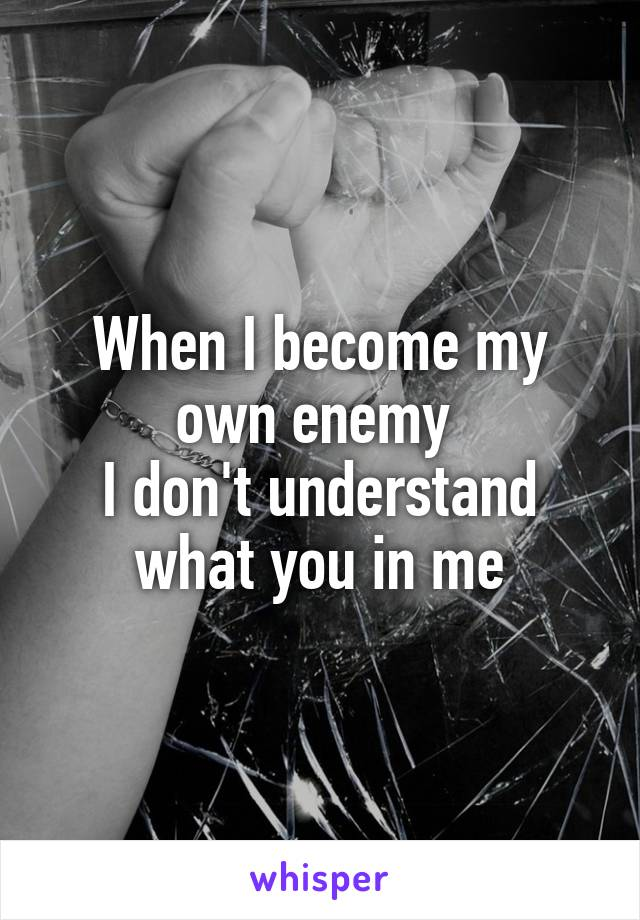 When I become my own enemy  I don't understand what you in me