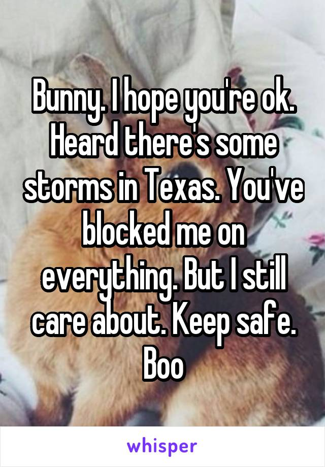 Bunny. I hope you're ok. Heard there's some storms in Texas. You've blocked me on everything. But I still care about. Keep safe. Boo