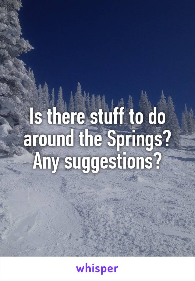 Is there stuff to do around the Springs? Any suggestions?