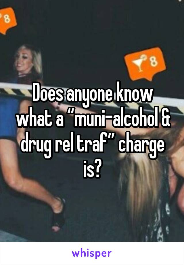 """Does anyone know what a """"muni-alcohol & drug rel traf"""" charge is?"""