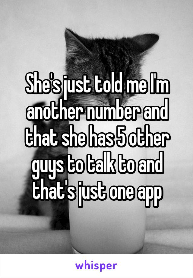 She's just told me I'm another number and that she has 5 other guys to talk to and that's just one app