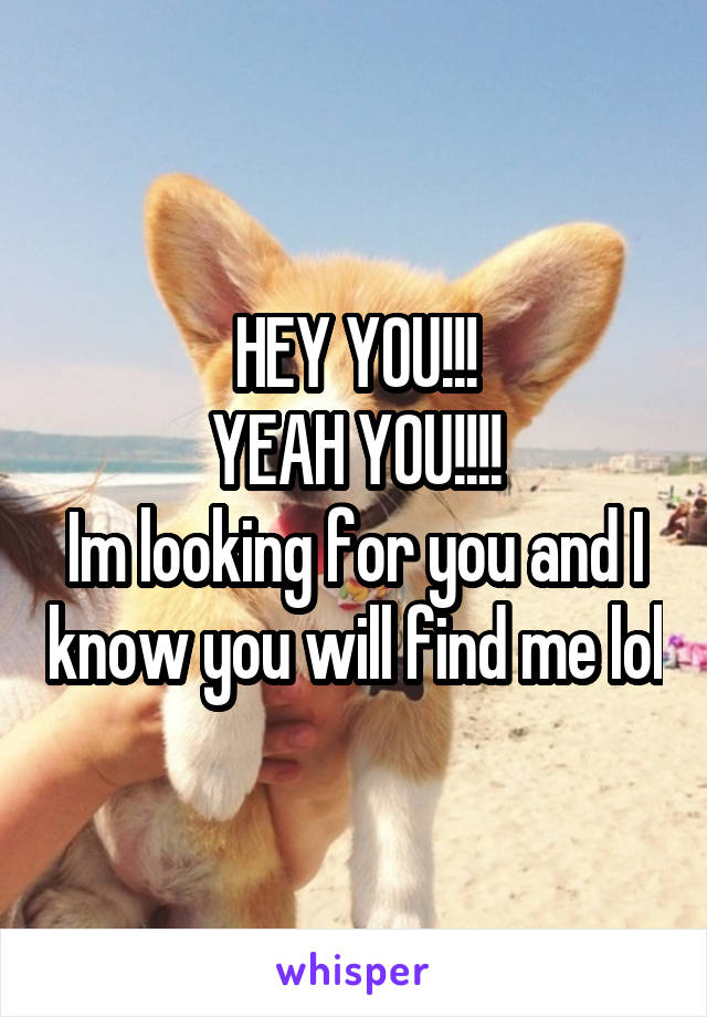 HEY YOU!!! YEAH YOU!!!! Im looking for you and I know you will find me lol