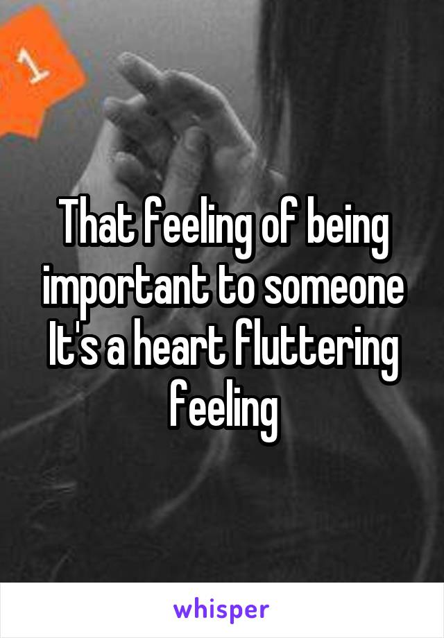 That feeling of being important to someone It's a heart fluttering feeling