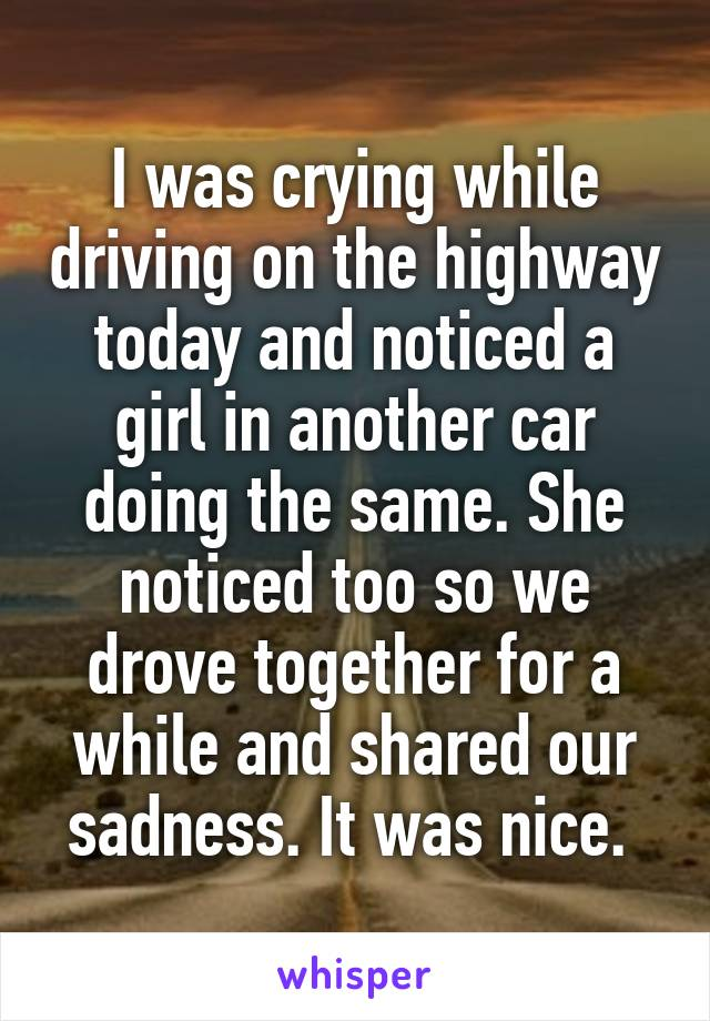 I was crying while driving on the highway today and noticed a girl in another car doing the same. She noticed too so we drove together for a while and shared our sadness. It was nice.