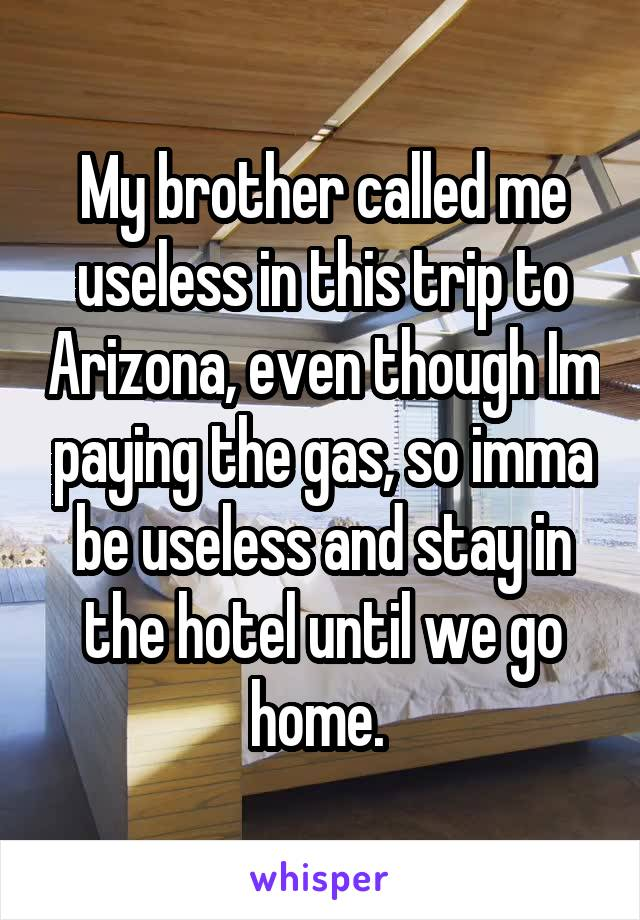My brother called me useless in this trip to Arizona, even though Im paying the gas, so imma be useless and stay in the hotel until we go home.