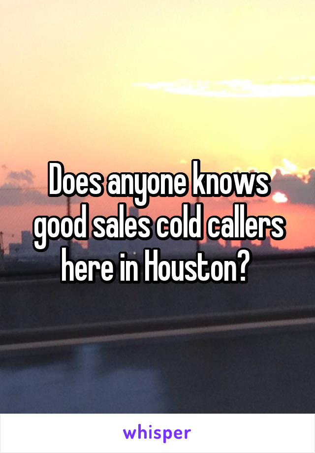 Does anyone knows good sales cold callers here in Houston?