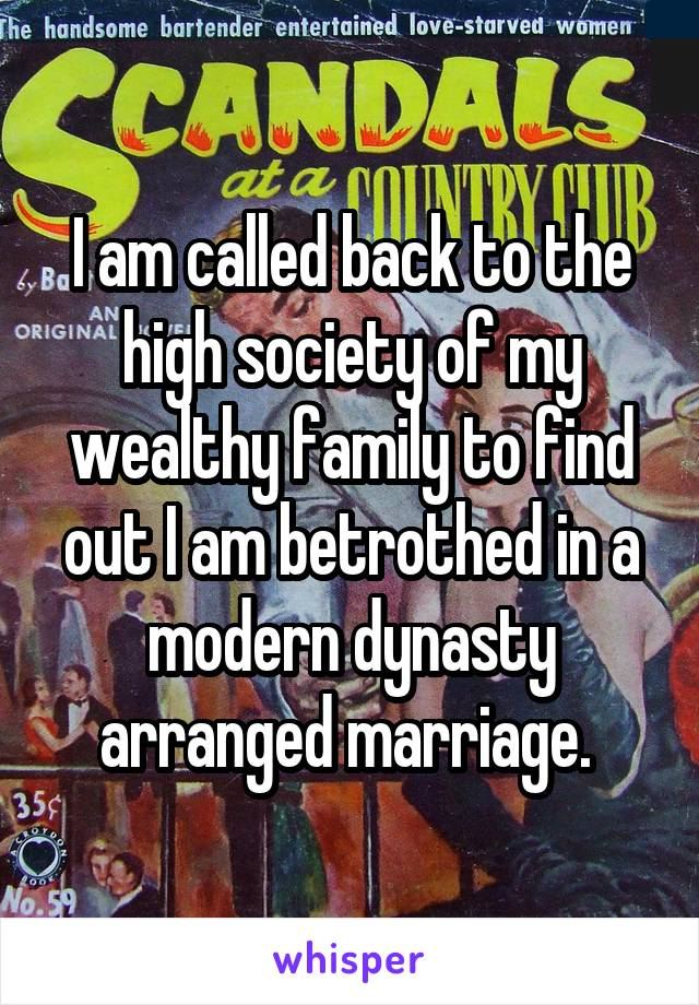 I am called back to the high society of my wealthy family to find out I am betrothed in a modern dynasty arranged marriage.
