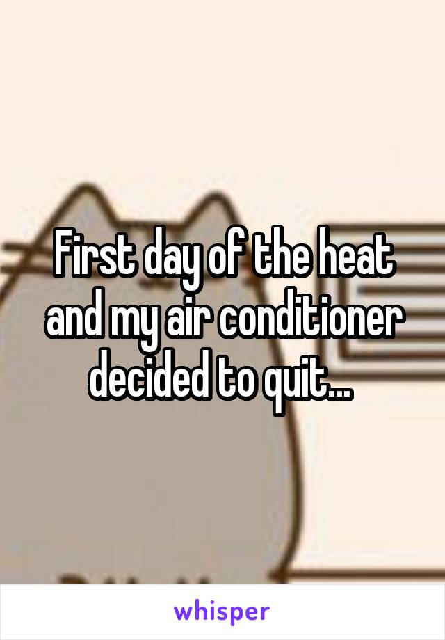 First day of the heat and my air conditioner decided to quit...