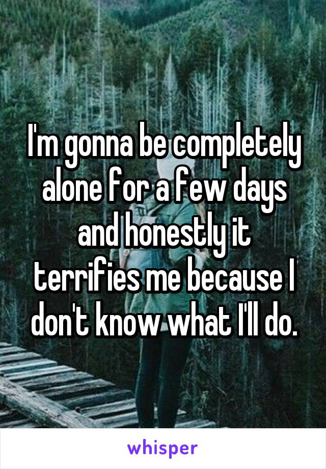 I'm gonna be completely alone for a few days and honestly it terrifies me because I don't know what I'll do.