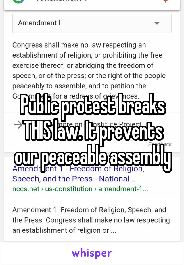 Public protest breaks THIS law. It prevents our peaceable assembly