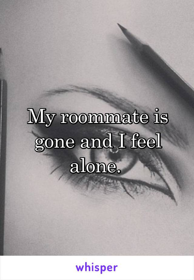 My roommate is gone and I feel alone.