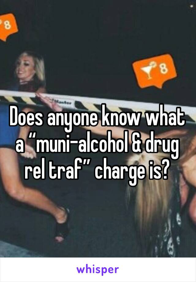"Does anyone know what a ""muni-alcohol & drug rel traf"" charge is?"