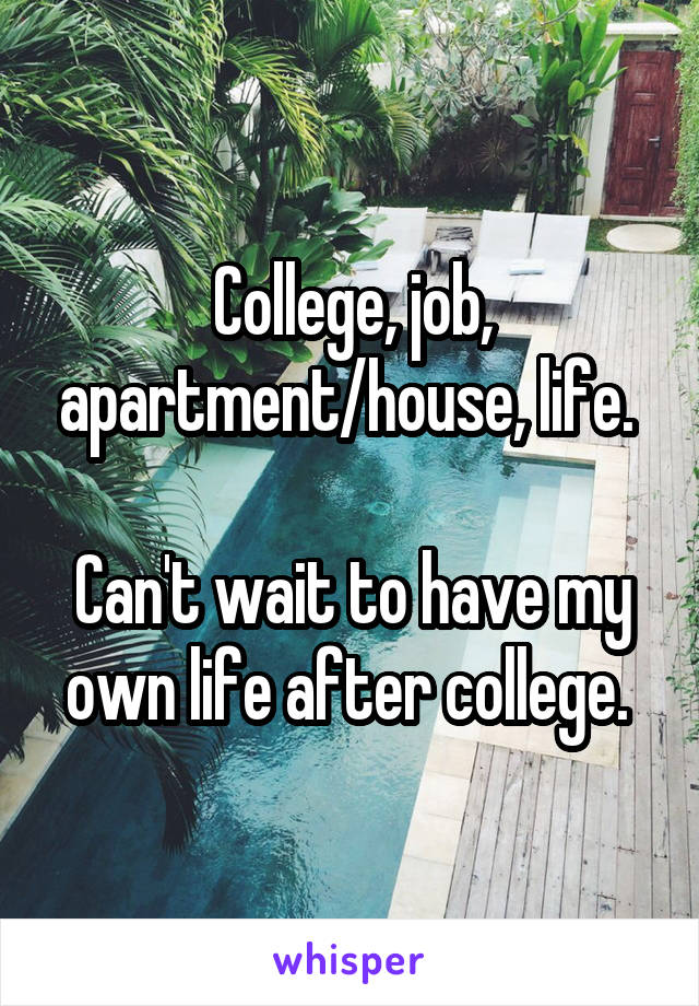 College, job, apartment/house, life.   Can't wait to have my own life after college.