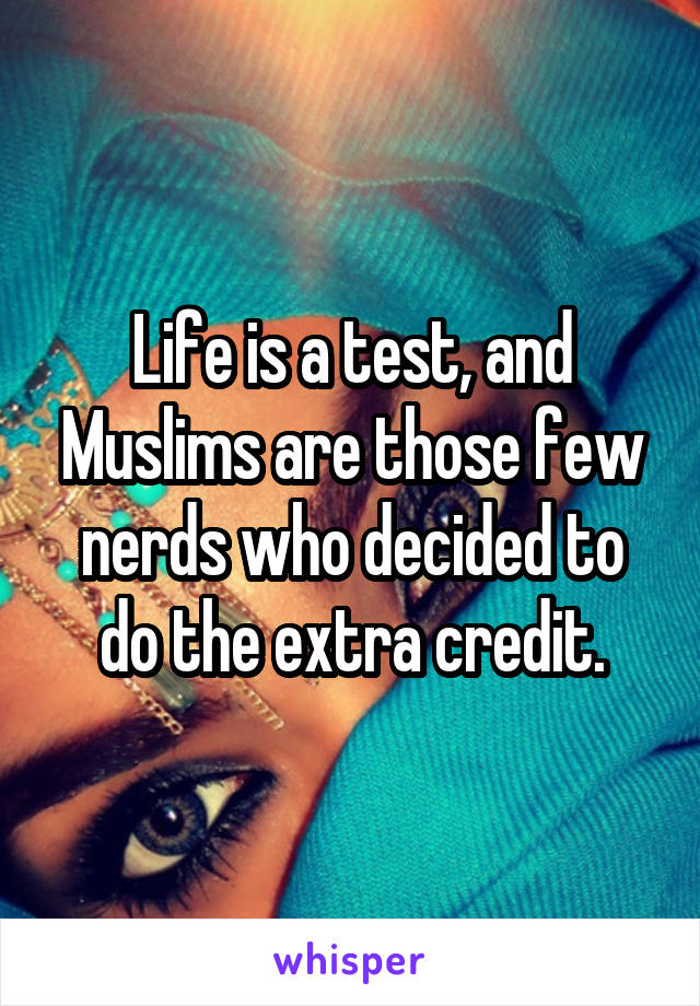 Life is a test, and Muslims are those few nerds who decided to do the extra credit.