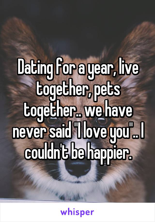 """Dating for a year, live together, pets together.. we have never said """"I love you"""".. I couldn't be happier."""