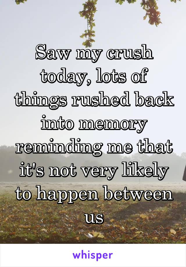 Saw my crush today, lots of things rushed back into memory reminding me that it's not very likely to happen between us