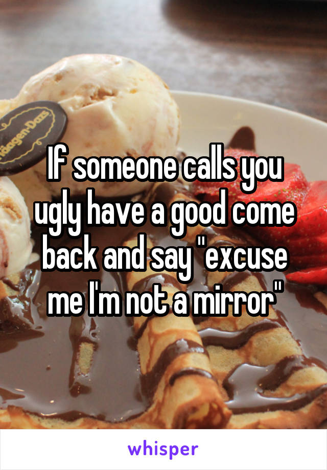 """If someone calls you ugly have a good come back and say """"excuse me I'm not a mirror"""""""