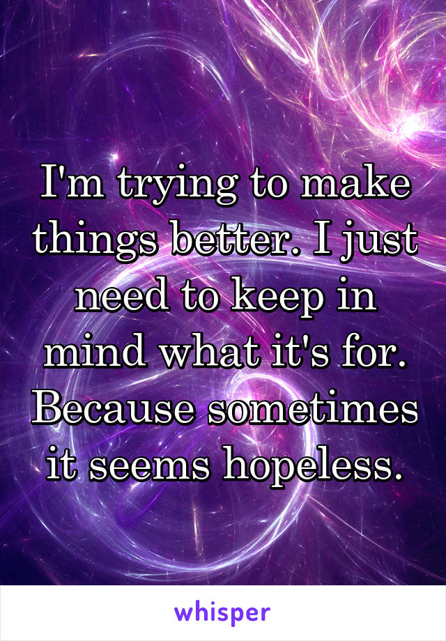 I'm trying to make things better. I just need to keep in mind what it's for. Because sometimes it seems hopeless.