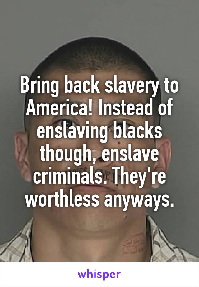 Bring back slavery to America! Instead of enslaving blacks though, enslave criminals. They're worthless anyways.