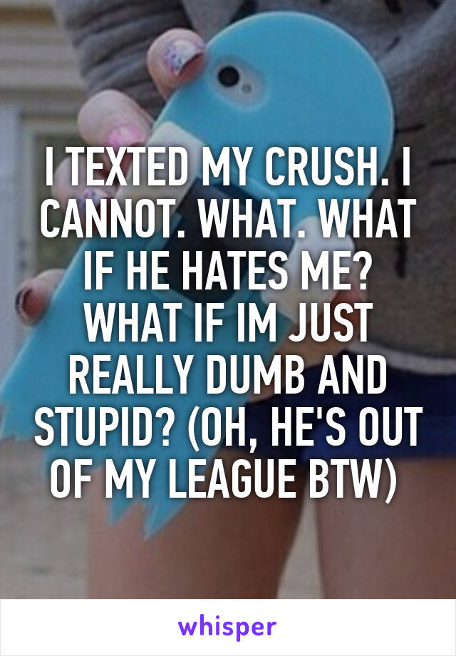I TEXTED MY CRUSH. I CANNOT. WHAT. WHAT IF HE HATES ME? WHAT IF IM JUST REALLY DUMB AND STUPID? (OH, HE'S OUT OF MY LEAGUE BTW)