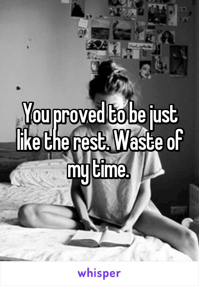 You proved to be just like the rest. Waste of my time.