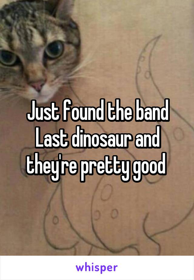 Just found the band Last dinosaur and they're pretty good