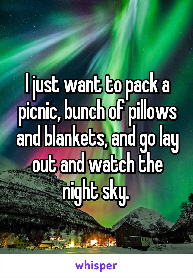I just want to pack a picnic, bunch of pillows and blankets, and go lay out and watch the night sky.