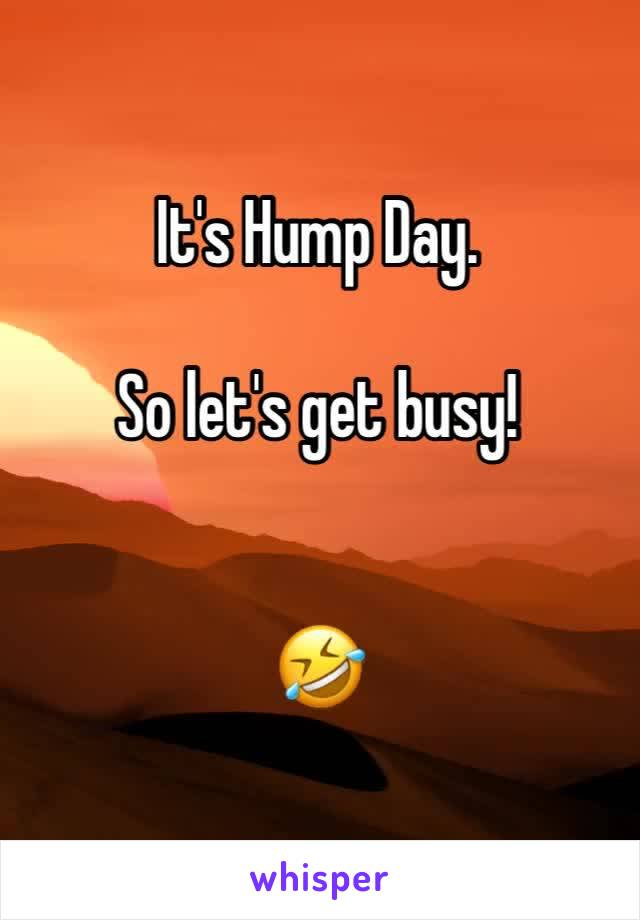 It's Hump Day.   So let's get busy!   🤣