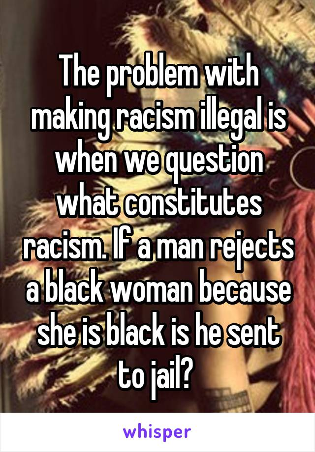 The problem with making racism illegal is when we question what constitutes racism. If a man rejects a black woman because she is black is he sent to jail?