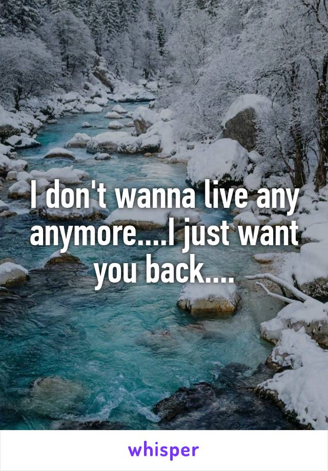 I don't wanna live any anymore....I just want you back....