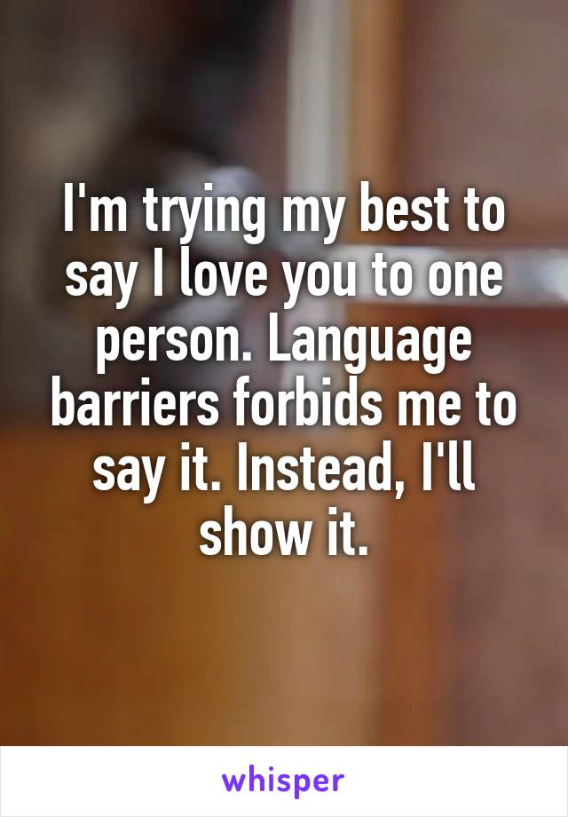 I'm trying my best to say I love you to one person. Language barriers forbids me to say it. Instead, I'll show it.