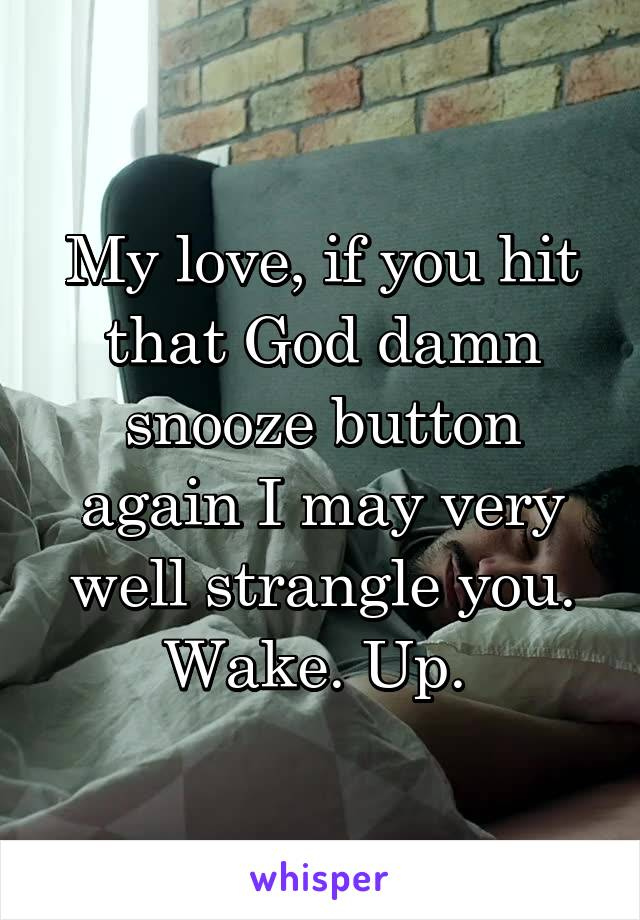 My love, if you hit that God damn snooze button again I may very well strangle you. Wake. Up.