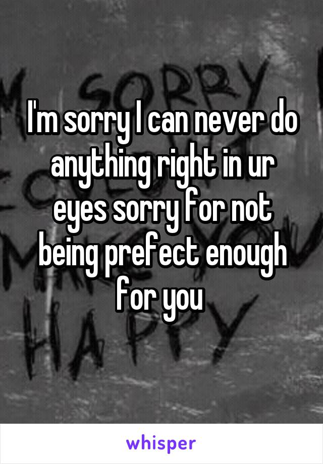 I'm sorry I can never do anything right in ur eyes sorry for not being prefect enough for you