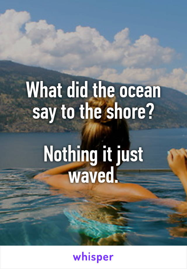 What did the ocean say to the shore?  Nothing it just waved.