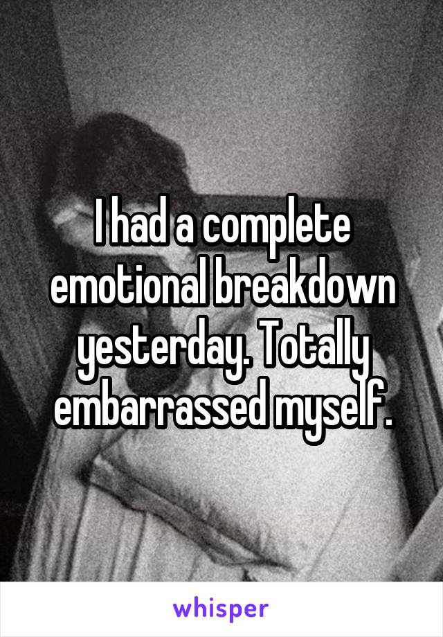 I had a complete emotional breakdown yesterday. Totally embarrassed myself.